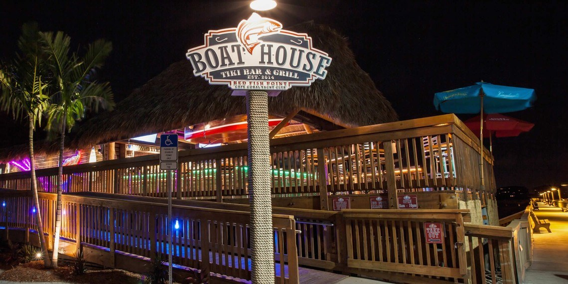 The BoatHouse after dark - very colorful